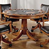 Hillsdale Furniture 4186GTB Park View 52'' Round Game Table with Reversible Top Dark Brown Leather Gaming Surface China Birch and Veneers Construction in Medium Brown Oak