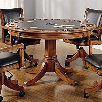 Hillsdale Furniture 4186GTB Park View 52u0026quot; Round Game Table With  Reversible Top Dark Brown Leather