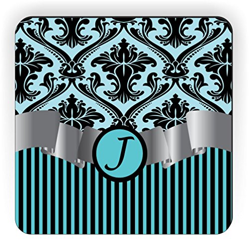 (Rikki Knight Letter J Initial Sky Blue Damask and Stripes Monogrammed Design Square Fridge Magnet)