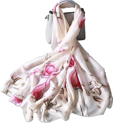 Foulard Donna feel di Seta Sciarpa di Raso Grande Scialle Accattivante Invernali Regalo XXL 180 X 90cm