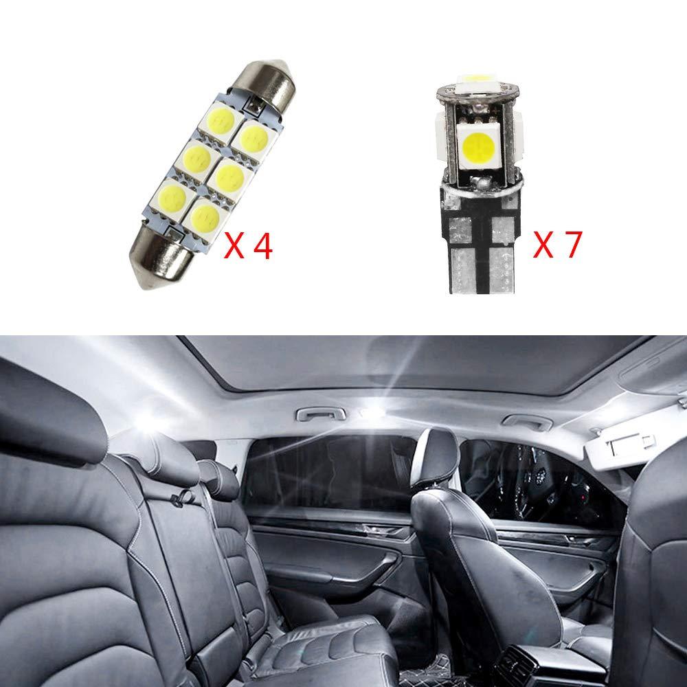 Cobear Adapté pour A4 2013-2016 12V Blanc Pas De Polarité LED Ampoules de Voiture Intérieur Lampe Remplacer pour Halogène ou HID Ampoules 7 pcs