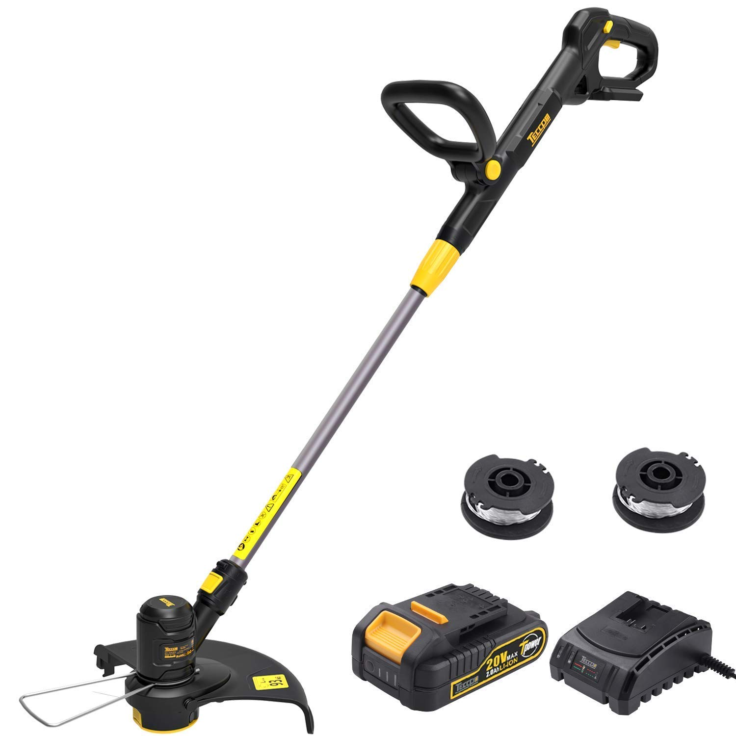 TECCPO String Trimmer, 20V 2Ah Lithium Ion, 2 16ft Nylon Thread Spool, Automatic Feed Spool, 12in Cutting Swath, Cordless Professional Grass Trimmer Edger, Battery and Charger Include – TDLT02G