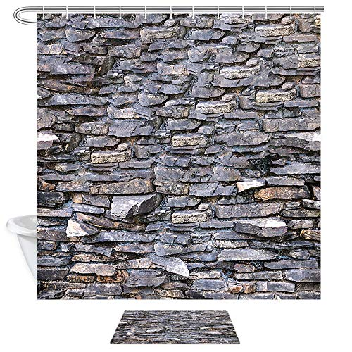 (DYNH Brick Wall Wallpaper Shower Curtain Doormat Set, Rough Grunge Weathered Brick Wall Rustic Nature, 69X70in Stone Rock Wall Bathroom Curtains with 15.7x23.6in Flannel Non-Slip Indoor Entrance Mat)