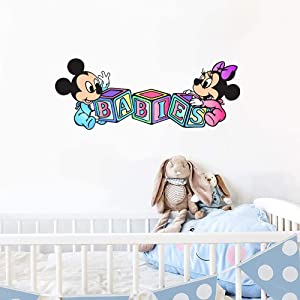 YttBuy Baby Mickey Minnie Mouse Wall Decals Colorful Stickers Interior Decor Nursery Baby Room Decor