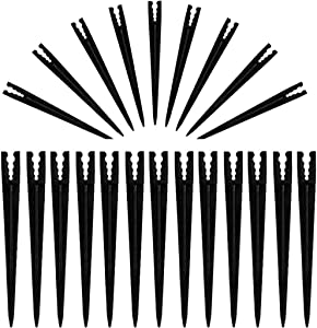 Bylion 100 Pack 5.6 Inch Plastic Irrigation Support Stakes for 1/4 Inch, 3/5 Inch, 4/7-Inch Universal Drip Tubing Hold Stakes for Irrigation,Greenhouse, Garden, and Hydroponics Growing, Black
