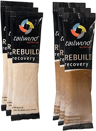 Tailwind Nutrition Rebuild Recovery 6-Pack Assortment Chocolate-Vanilla Bag – Complete Protein, Electrolytes and Carbohydrates – Vegan, Gluten-Free, No Soy or Dairy