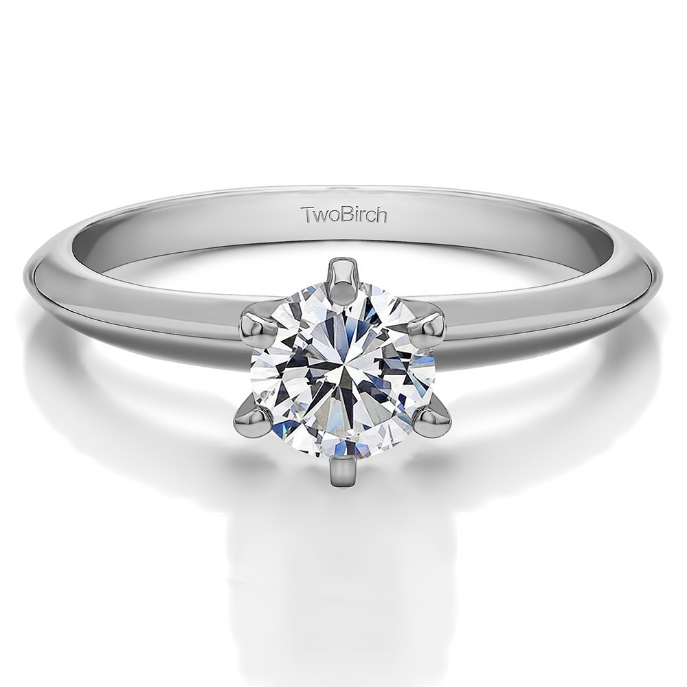 TwoBirch Round Traditional Style Solitaire With Cubic Zirconia In Sterling Silver(1CT)