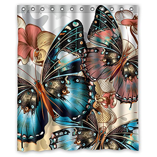 - Custom Butterfly Design Waterproof Polyester Fabric Bathroom Shower Curtain 60 inch x 72 inch,about 152cm x 183cm