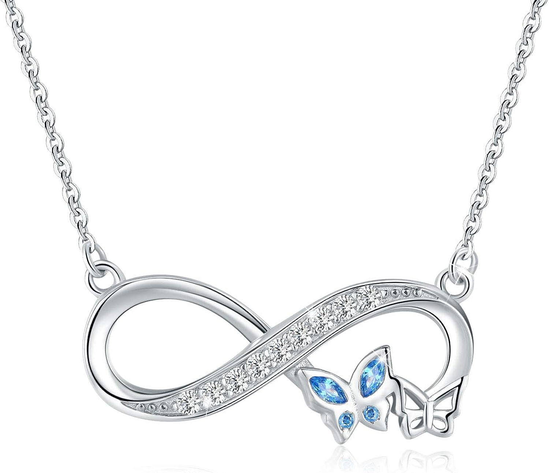Collar de mariposa infinito para mujer, plata de ley 925, circonita cúbica azul, colgante de mariposa para siempre amor, para ella, padrino, hermana, regalos