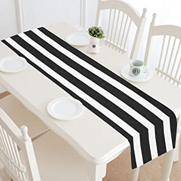Amazoncom Interestprint Black And White Stripes Table Runner