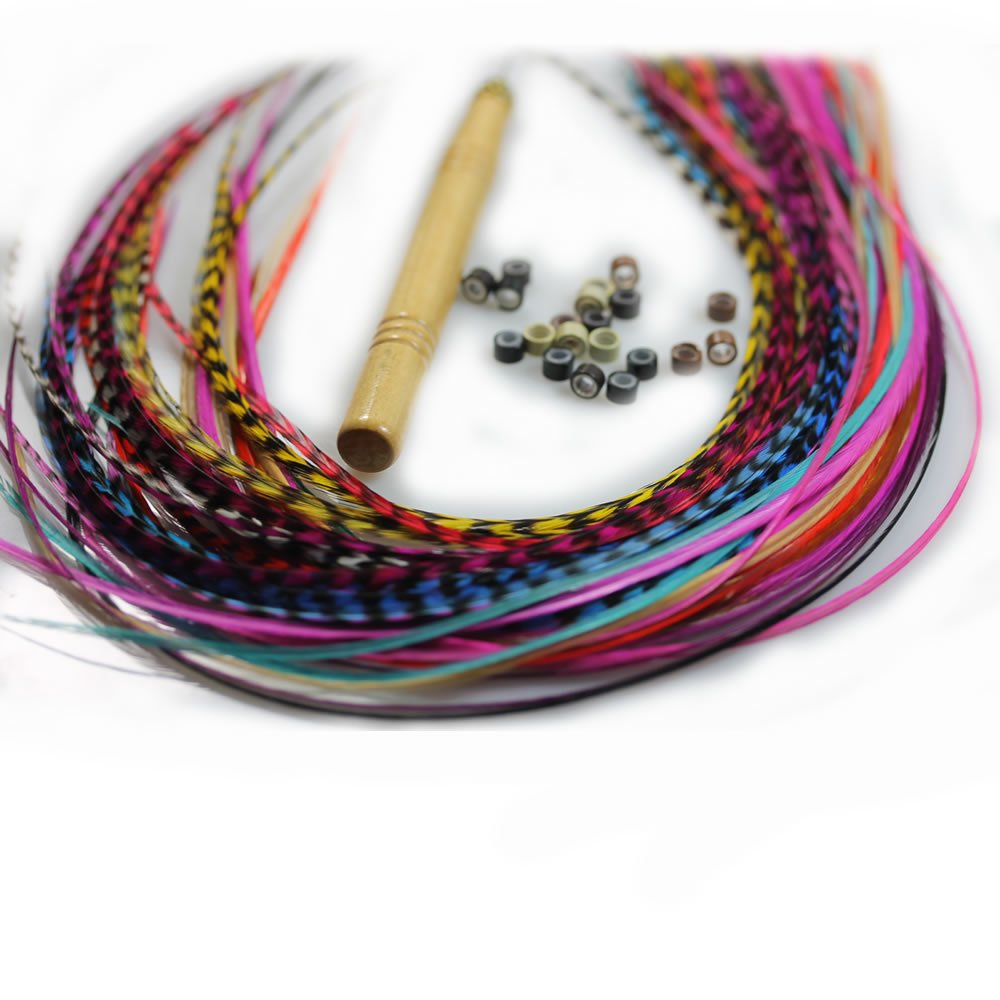 Sexy Sparkles Feather Hair Extensions, 100% Real Rooster Grizzly & Solid Feathers, Long Rainbow Colors, 20 Hair Feathers with Beads and Loop Tool Kit