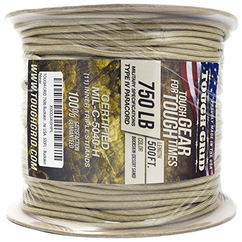 TOUGH-GRID 750lb Buckskin (Desert Sand) Paracord/Parachute Cord - Genuine Mil Spec Type IV 750lb Paracord Used by The US Military (MIl-C-5040-H) - 100% Nylon - Made in The USA. 100Ft. - Buckskin by TOUGH-GRID (Image #9)