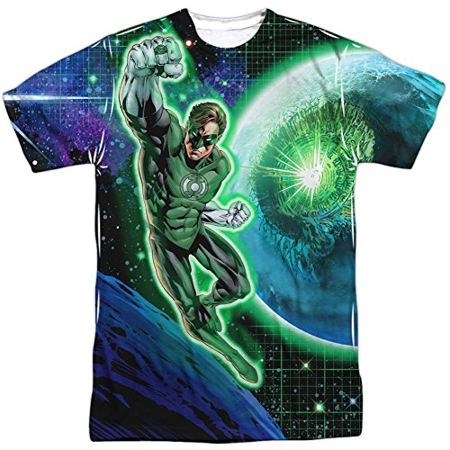 DC Comics Green Lantern In Space Mens Sublimation Shirt White MD