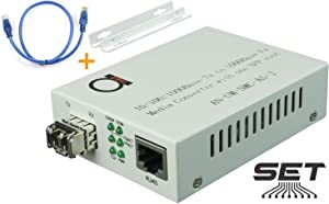 Multimode LC 850 nm Gigabit Fiber Media Converter - Includes SFP 550 m (0.34 Miles) LC – to UTP Cat5e Cat6 10/100/1000 RJ-45 – Auto Sensing Gigabit or Fast Ethernet Speed - Jumbo Frame - LLF Support