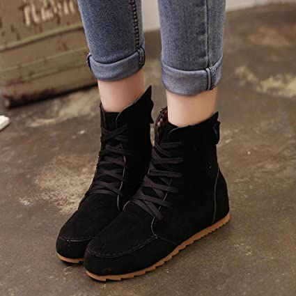c1e2452a5b982 Hemlock Flat Ankle Boots, Women Snow Motorcycle Boots Female PU Leather  Lace-Up Boot Flat Bottom Shoes