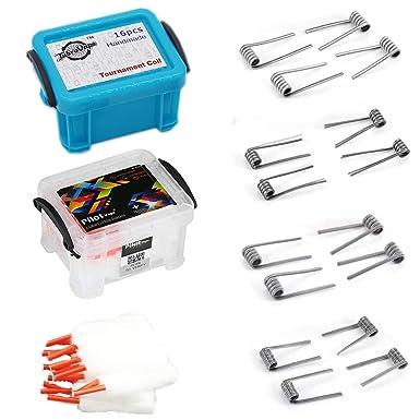 Algodón Vape Orgánico & Vaper Wire Coils Kit Cigarrillo Electrónico Accesorios 50 piezas de algodón ecológico 23 Preformado Bobinas Selección de 5 Estilos Perfecto para su RDA RBA RDTA para el vapeo: