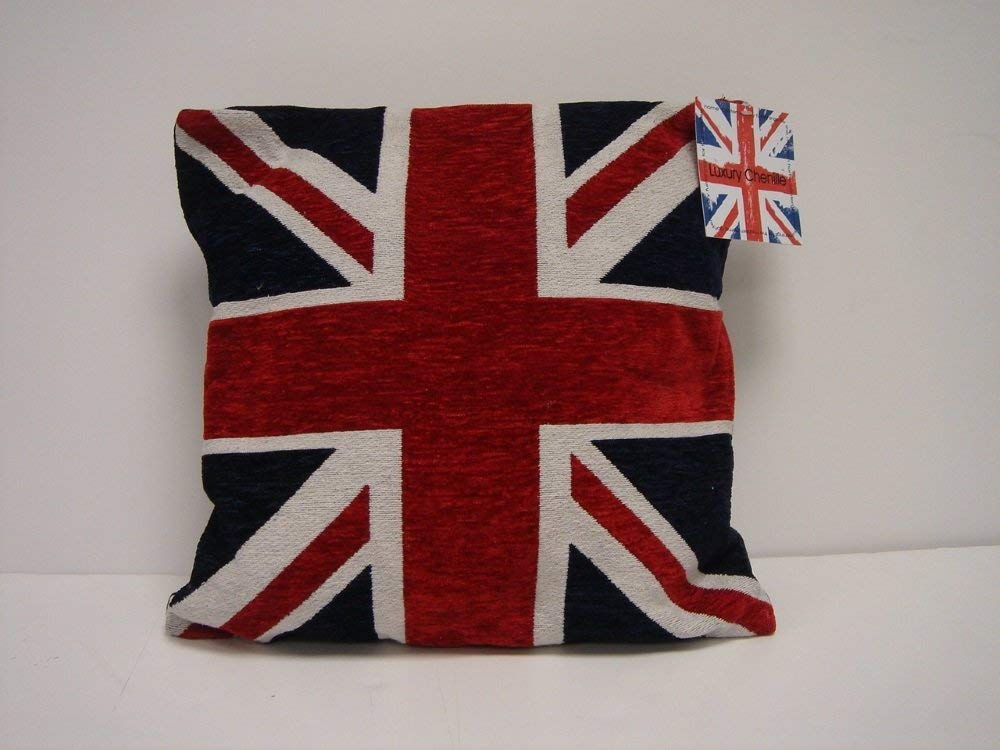 "THICK HEAVYWEIGHT CHENILLE RED WHITE BLUE UNION JACK 18/"" CUSHION COVER"