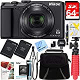 Nikon A900 20MP Longest Slim Zoom COOLPIX WiFi Digital Camera with 4K UHD Video 35x Telephoto NIKKOR Zoom Lens + 64GB Dual Battery Accessory Bundle (Black)