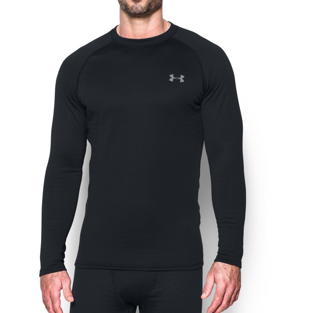 Under Armour Men's Base 4.0 Crew, Black/Steel, Large