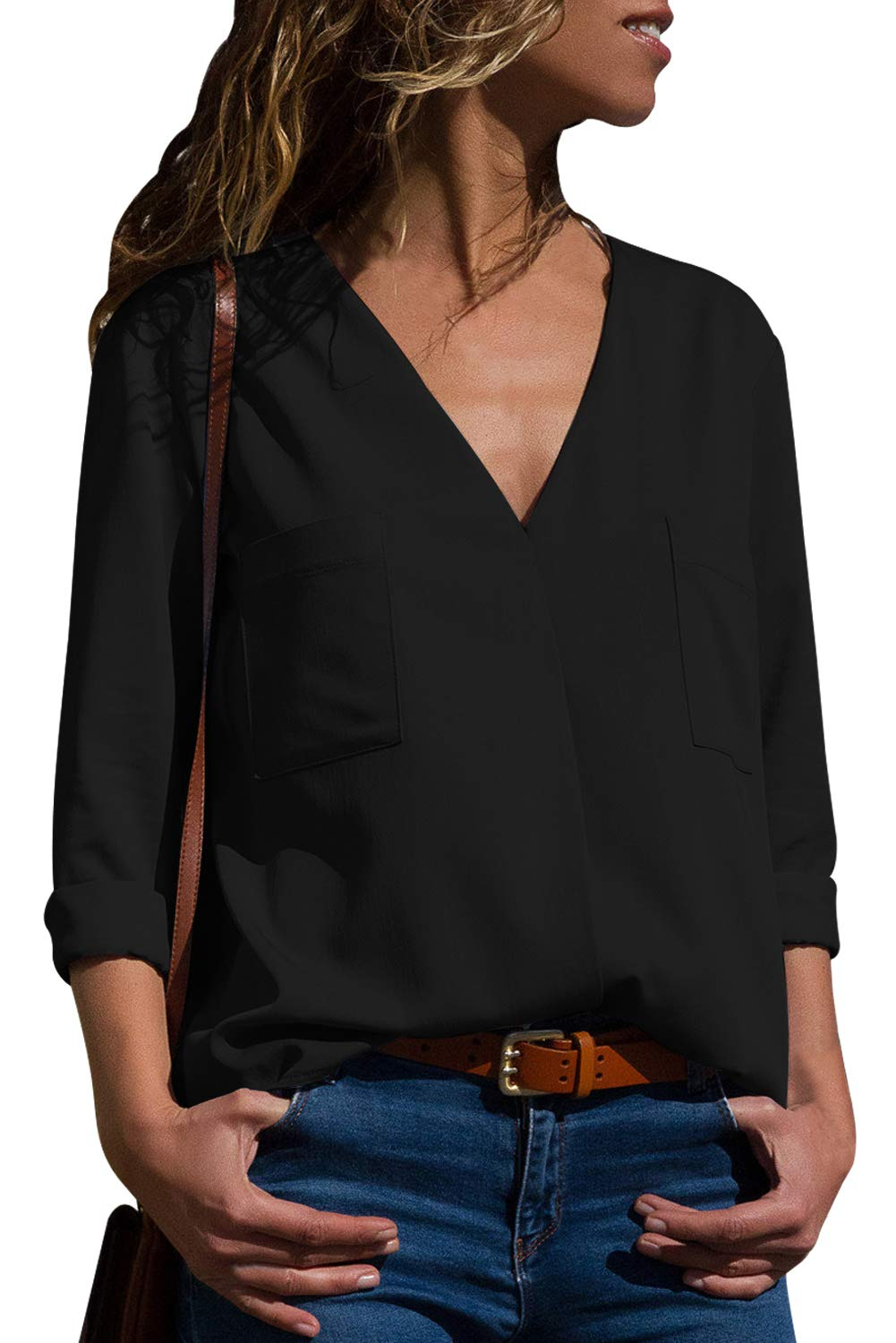 Asyoly Women Casual Pockets V Neck Long Sleeve Loose Fit Basic Blouse T Shirt Tops