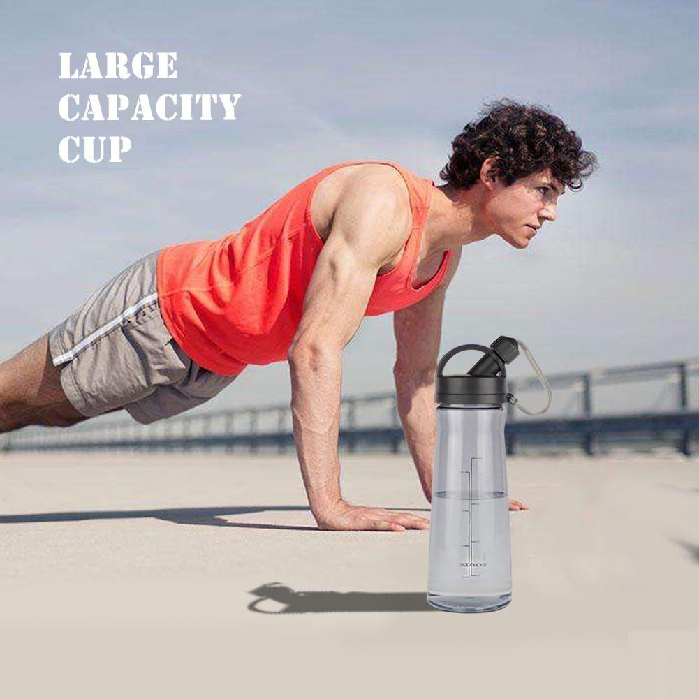 Bottiglia d\'acqua Sportiva - 1 Litro Bottiglia Acqua con Infusore BPA Free, a Prova di Perdite, Plastica Detox Bottiglie Acqua per Palestra, Sport, Yoga, la Corsa--Grigio
