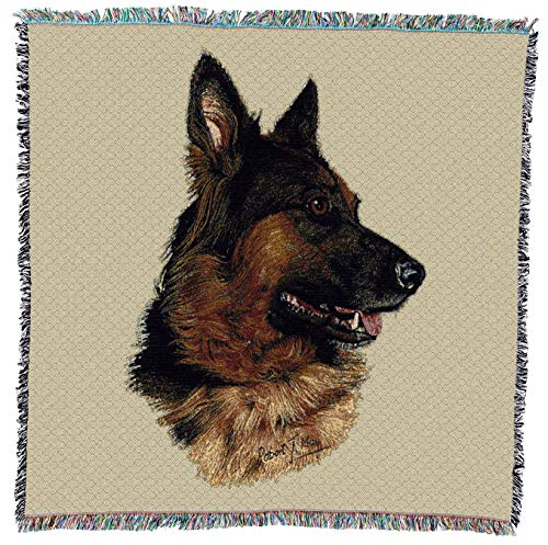 (Pure Country Weavers - German Shepherd Woven Throw Blanket with Fringe Cotton. USA Size 54x54)