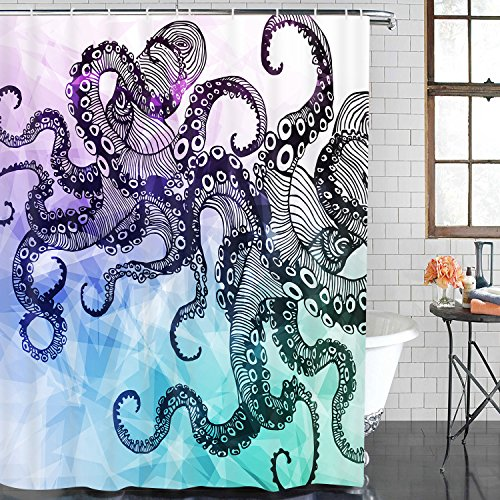 BLEUM CADE Bathroom Shower Curtain Octopus Shower Curtains with 12 Hooks, Waterproof Mildew Resistant Fabric Bath Curtain Sets for Bathroom Decoration