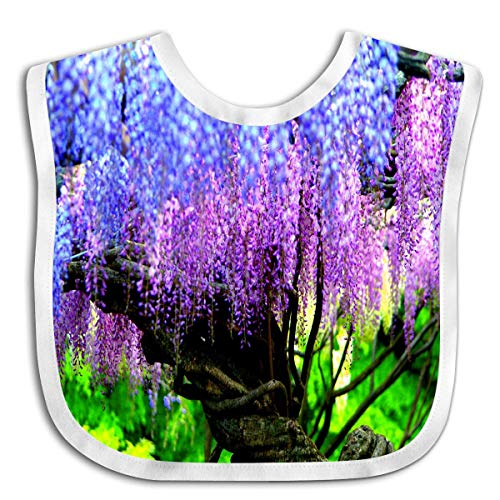 (Custom Baby Bandana Drool Bibs, Boys/Girls Burp Cloths for Drooling and Teething [Wisteria Festival Garden Purple Spring Fuji Flower])