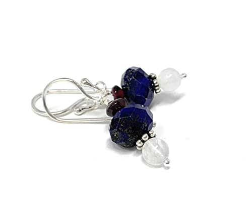 Lapis lazuli stone wrapped with silver handmade earrings