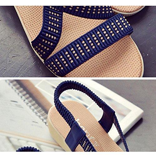 Scothen Sandalias de tacón Casual tarde Peep Toe mujeres de las sandalias planas de la hebilla de las sandalias romanas sandalias planas del Rhinestone correa del clip zapatos deslizadores de Bohemia Blue