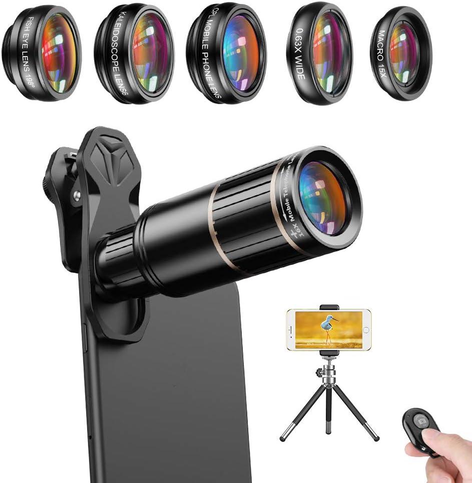 Apexel - Kit de lente para cámara de teléfono móvil, disparador ...