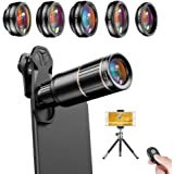 Apexel Cell Phone Camera Lens Kit -Remote Shutter+ Phone Tripod+ 6 in 1 Phone Lens -Metal 16X Telephoto Zoom Lens/Wide…