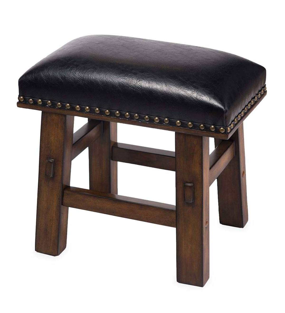 Plow & Hearth Canyon Black Leather Footstool - Black by Plow & Hearth