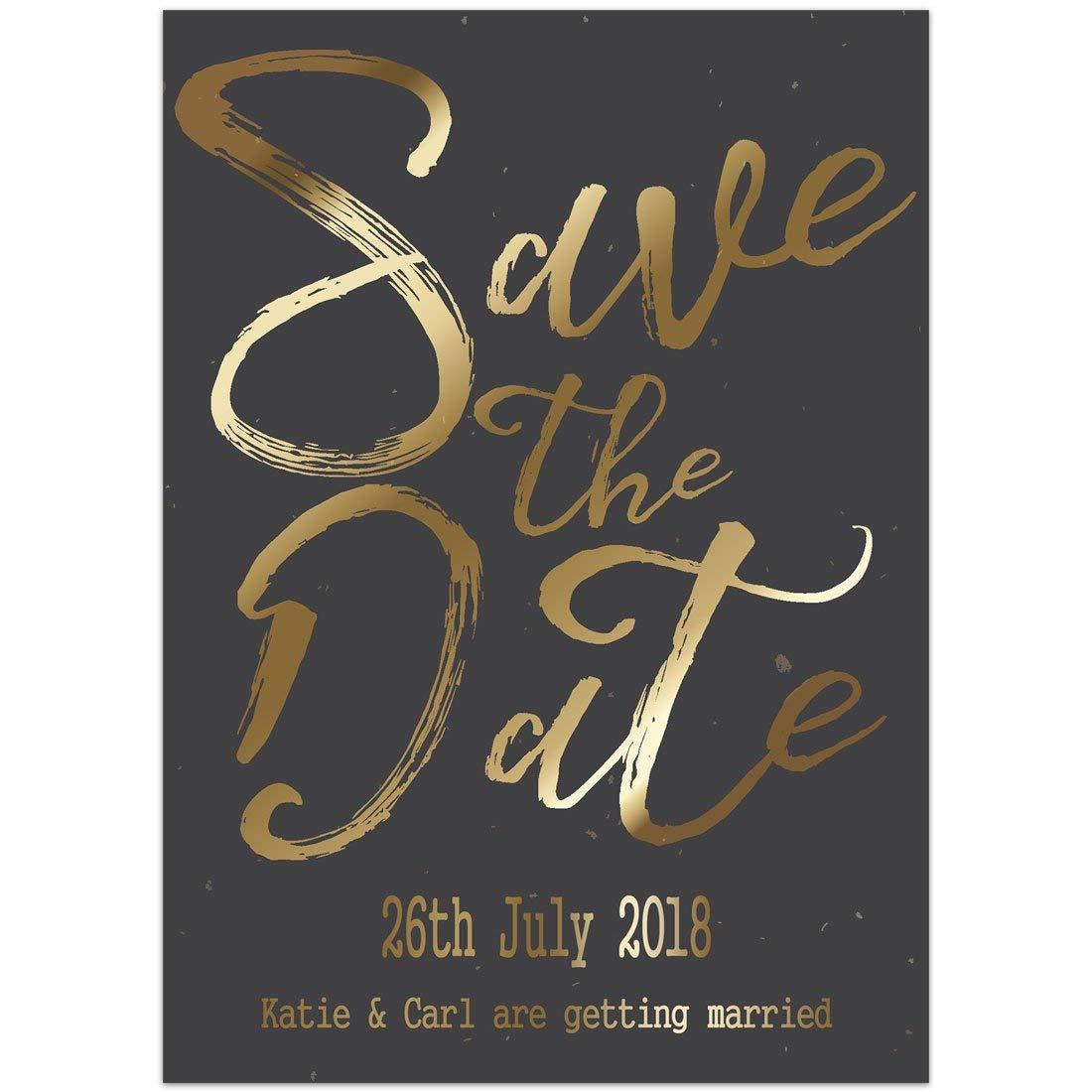 Amazon.com: Black Gold Save the Date Card Wedding Invitation: Handmade