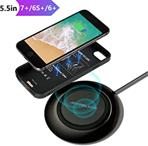 "Wireless Charger Set for iPhone 7 Plus/6 Plus/6s Plus(Only for Plus), With Wireless Charging Pad and 5.5"" Qi Wireless Charging Case(No Battery),7.5W Fast Cordless Charger for iPhone XS Max/XS/X/8 Plus"