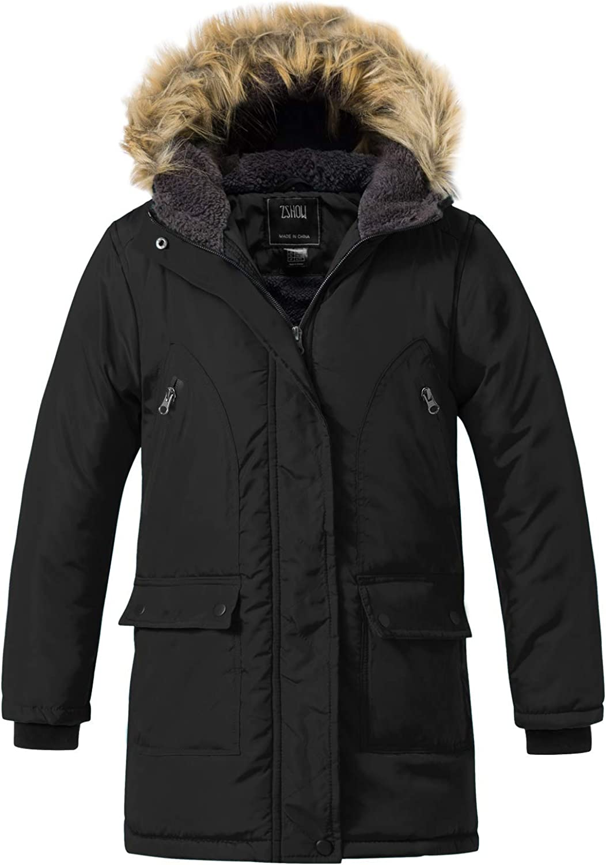 ZSHOW Girls' Winter Parka Coat Warm Padded Hooded Long Puffer Jacket: Clothing