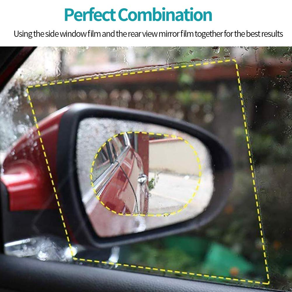 Safe Driving Anti-Fog Anti-Glare Anti-Scratch Anti-Mis Rainproof Waterproof HD Mirror Window Film Clear Protective Sticker for Car Mirrors /& Side Windows 4pcs Car Rear View Mirror Film