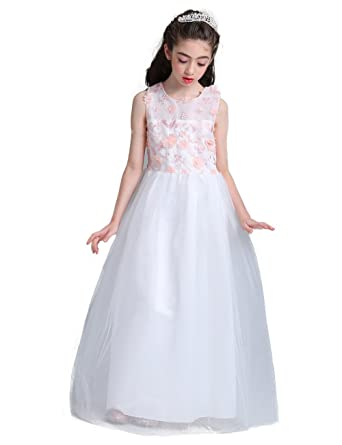 Big Girls Special Occasion Prom Dresses (6, White-1)