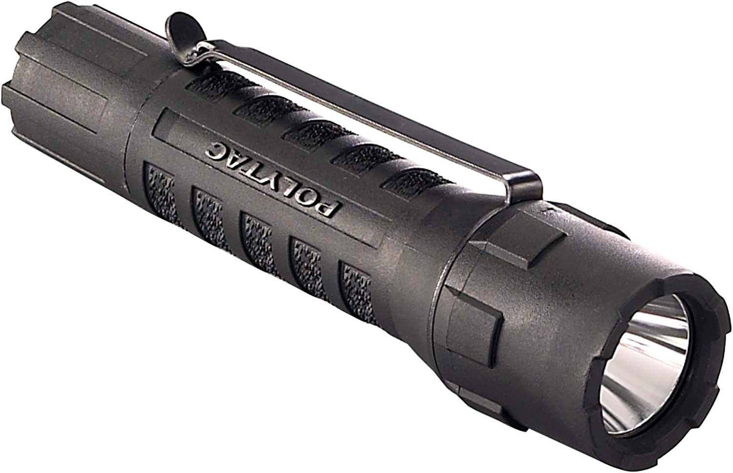 "This is an image of Steamlight pistol light with the word ""POLYMAC"" printed on its body."