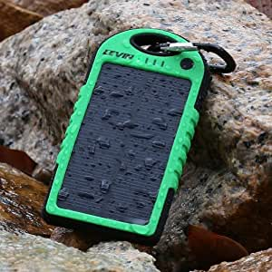Levin™ Solstar Solar Charger 6000mAh Rain-resistant and Dirt/Shockproof Dual USB Port Portable Charger Backup External Battery Power Pack for iPhone, iPods(Apple Adapters not Included), Android Phones, Windows phone and Other Devices(green)