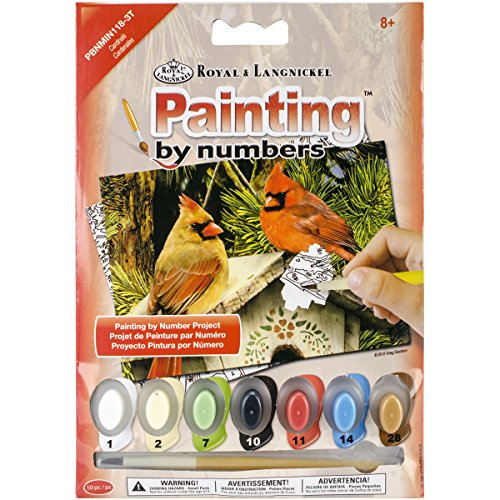 ROYAL BRUSH PBNMIN-118 Cardinals Mini Paint by Number Kit, 5