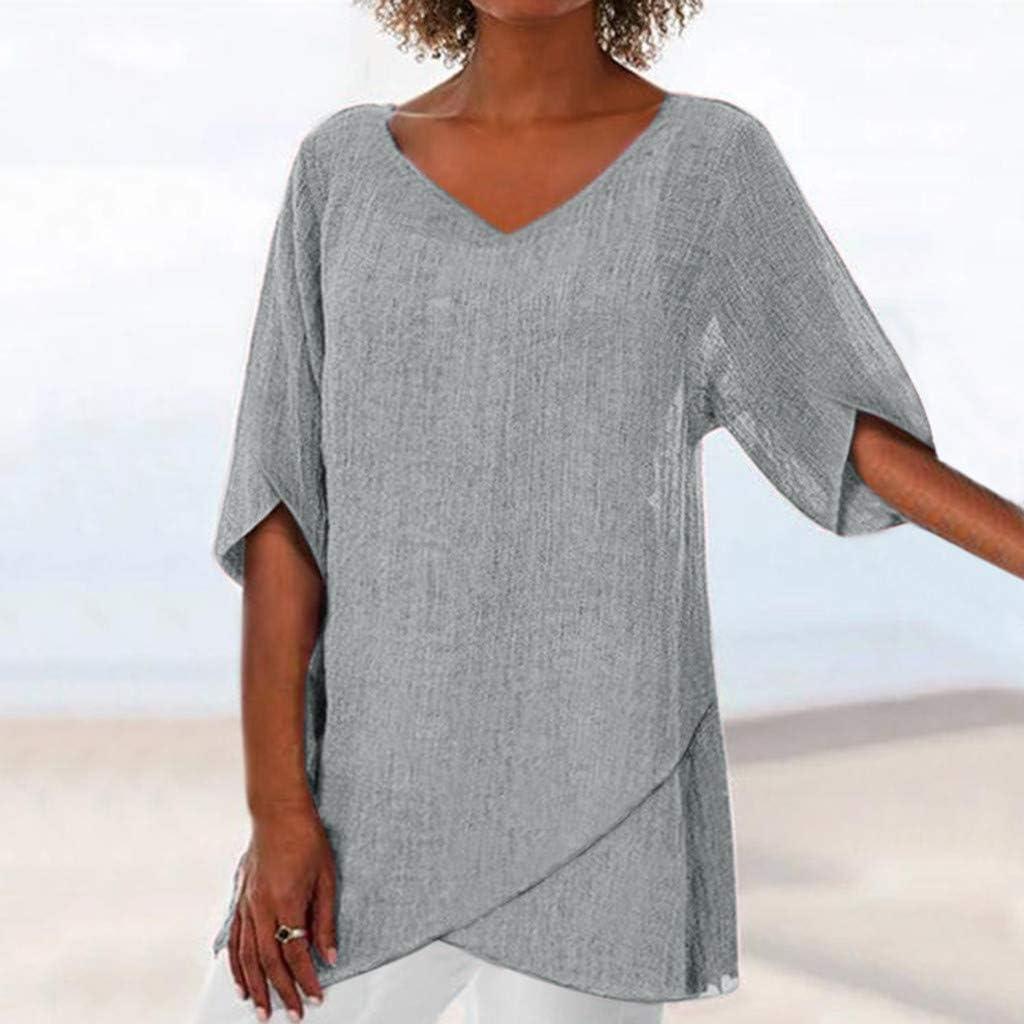 SMILEQ Mujeres Tops Verano Casual Sólido T-Shirt Moda ...