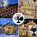 GAXmi LED Christmas Projector Lights Snowfall Decorations Outdoor Indoor Xmas Decor Light White Snowflake Flurries Rotating Spotlight Landscape Decorative Lighting
