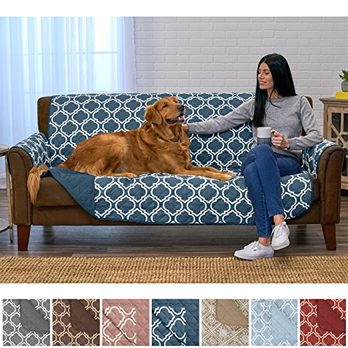 Beautiful Sofa (Home Fashion Designs Adalyn Collection Deluxe Reversible Quilted Furniture Protector. Beautiful Print on One Side/Solid Color on the Other for Two Fresh Looks. By Brand. (Sofa/Couch, Indian Teal))