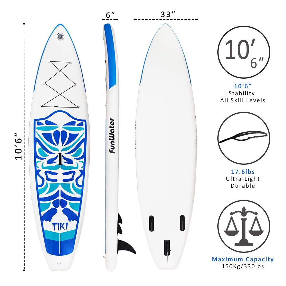 FunWater Inflatable 10 6 33 6 Ultra-Light 17.6lbs SUP for All Skill Levels Everything Included with Stand Up Paddle Board, Adj Paddle, Pump, ISUP Travel Backpack, Leash, Repair Kit, Waterproof Bag