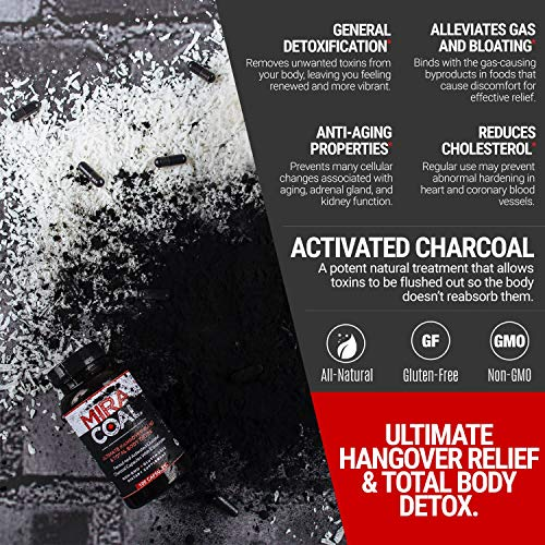Miracoal Hangover Prevention with Organic Activated Coconut Charcoal | Detox and Relief (100 Capsules) for Alcohol Recovery | A Gluten Free Dietary Supplement with Electrolytes by Miracoal (Image #4)