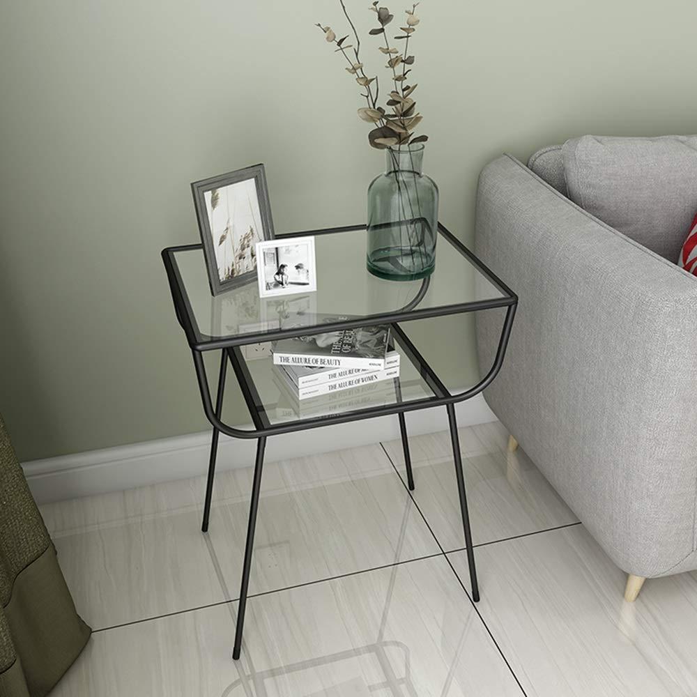 ZR – härdat glas sidobord modernt norra Europa vardagsrum järnkonst soffa hörnbord sovrum sängbord förvaringsbord, 40 cm x 40 cm x 60 cm möbler (färg: Guld) SVART