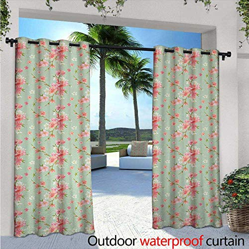 Shabby Chic Indoor/Outdoor Single Panel Print Window Curtain W84 x L96 Retro Spring Blossom Flowers with French Garden Florets Garland Artisan Image Silver Grommet Top Drape Mint Pink