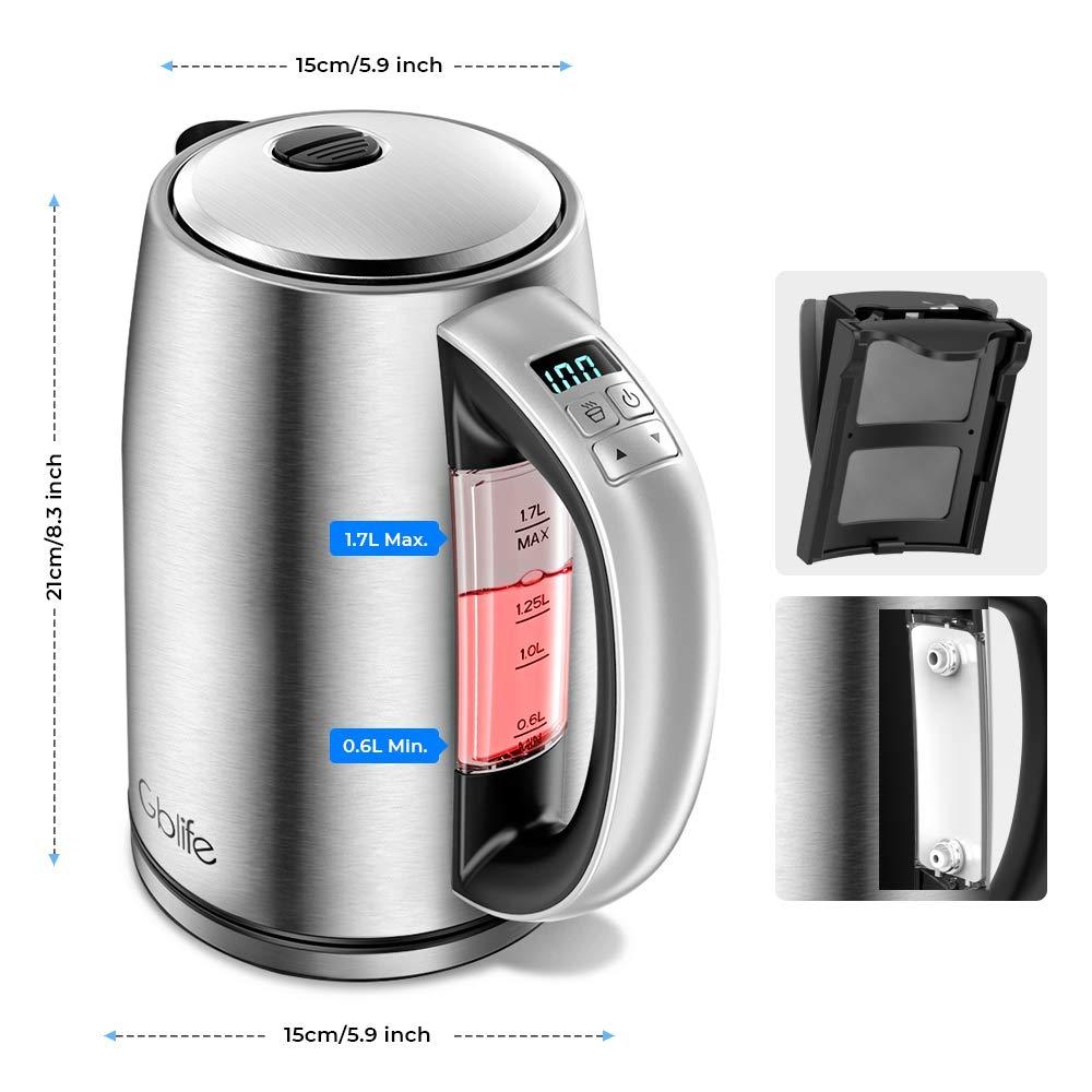 GBlife Smart Hervidor Eléctrico 1.7L Hervidor de Agua con LCD Pantalla Hervidor de Acero Inoxidable, 2200W Control Temperatura Preciso Hervidor de Agua ...