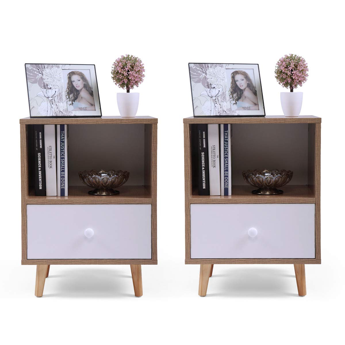 Set of 2 Night Stand 2 Layer w/Drawer Bedside End Table Organizer Bedroom by Betterhomechoice